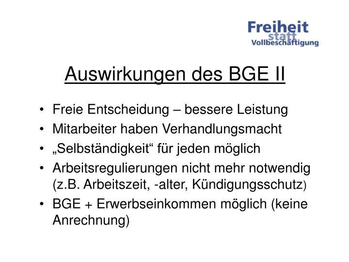 Auswirkungen des BGE II