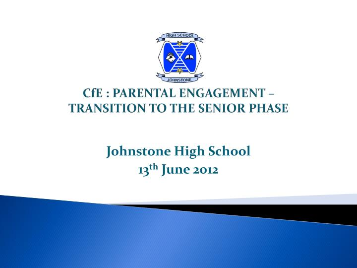 cfe parental engagement transition to the senior phase n.