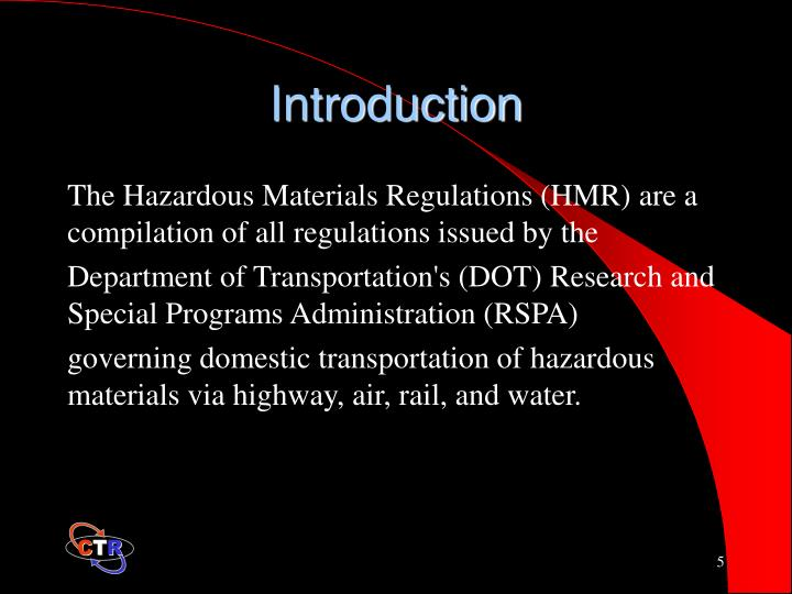 hazardous materials transport and research paper 02 — description of hazardous material on shipping papers 49 cfr 172320 — explosive hazardous materials 49 cfr 172201 — preparation and retention of shipping papers 49 cfr 172602 — emergency response information 49 cfr 1716 — control numbers under the paperwork reduction act.