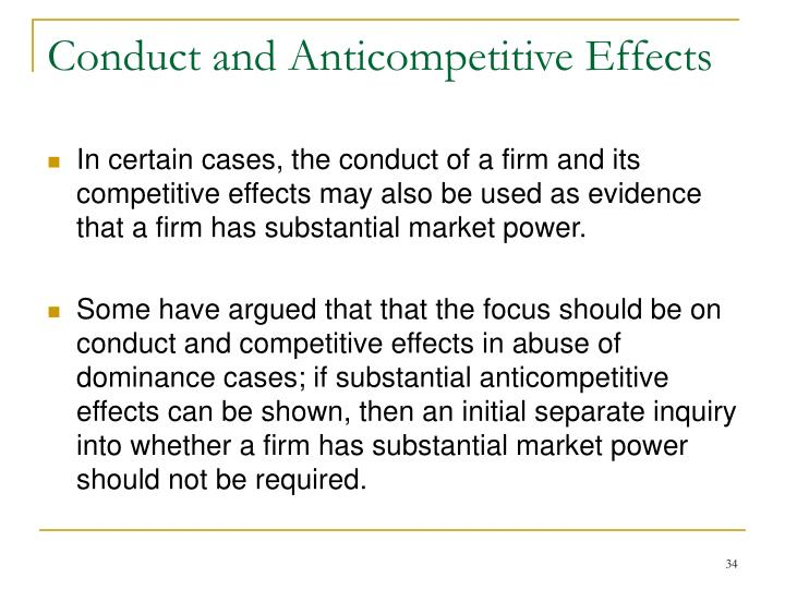 Conduct and Anticompetitive Effects