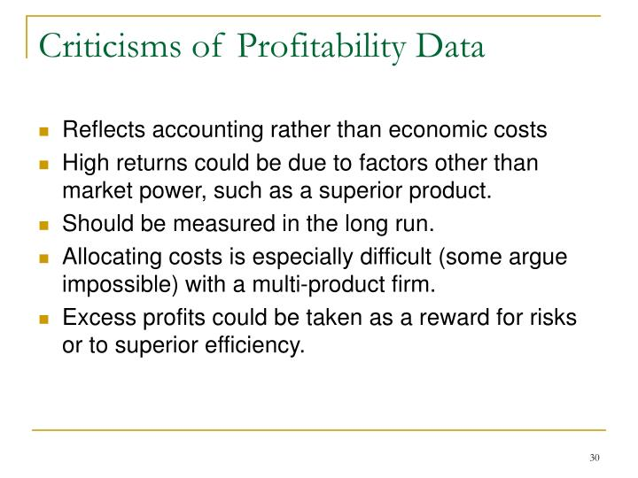 Criticisms of Profitability Data