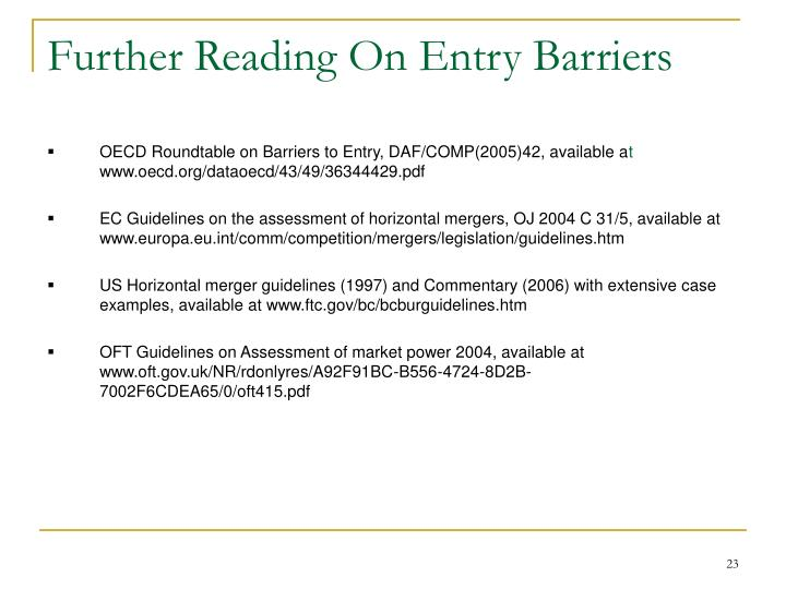 Further Reading On Entry Barriers