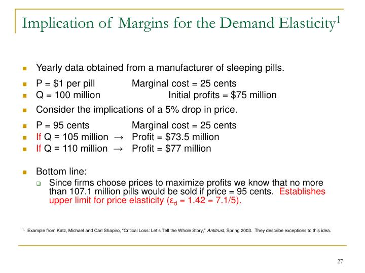 Implication of Margins for the Demand Elasticity