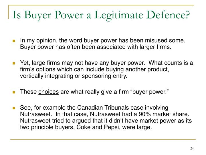 Is Buyer Power a Legitimate Defence?