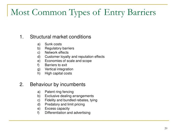 Most Common Types of Entry Barriers