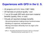 experiences with qfd in the u s