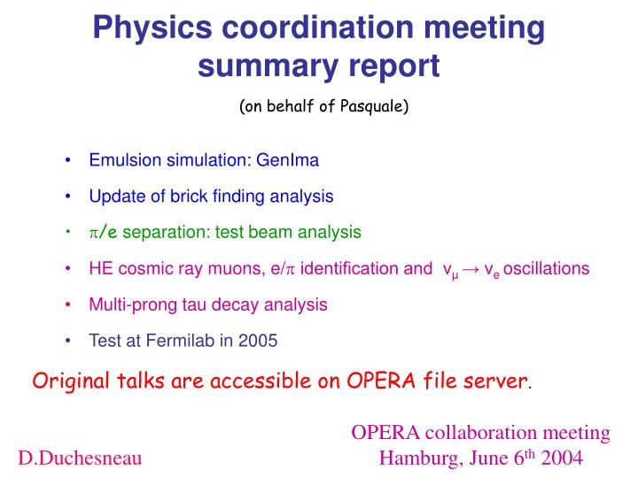physics coordination meeting summary report n.