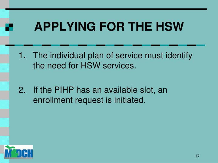 APPLYING FOR THE HSW