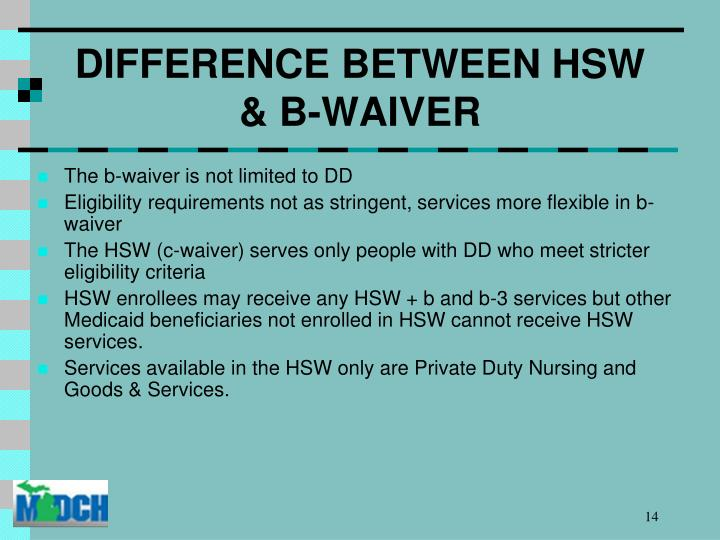DIFFERENCE BETWEEN HSW & B-WAIVER