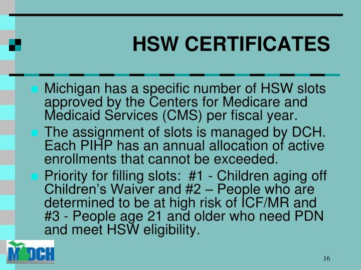 HSW CERTIFICATES