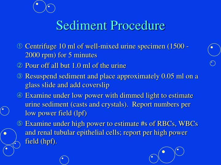 Sediment Procedure