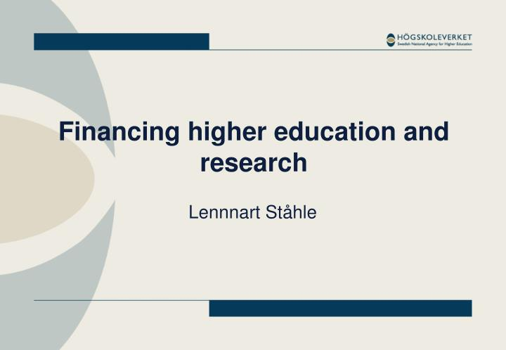 financing higher education and research n.