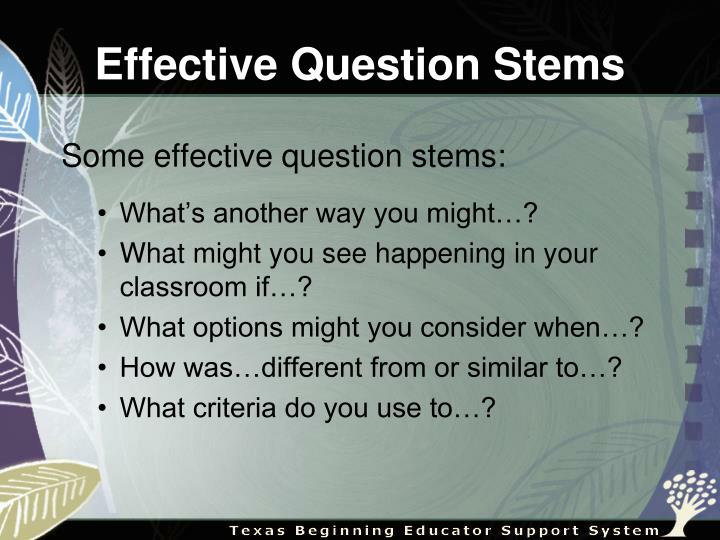 Effective Question Stems