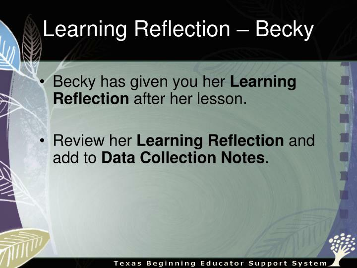 Learning Reflection – Becky