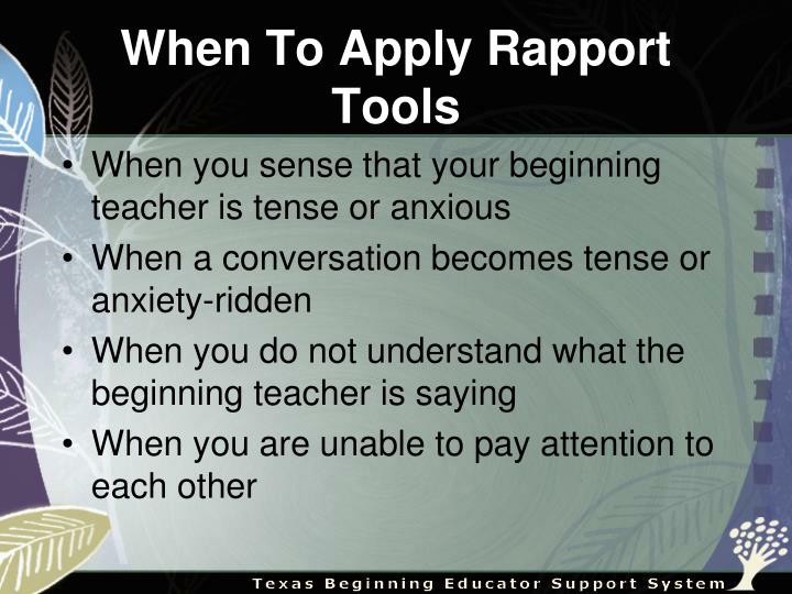 When To Apply Rapport Tools