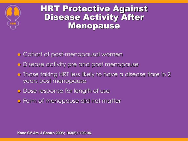 HRT Protective Against Disease Activity After Menopause
