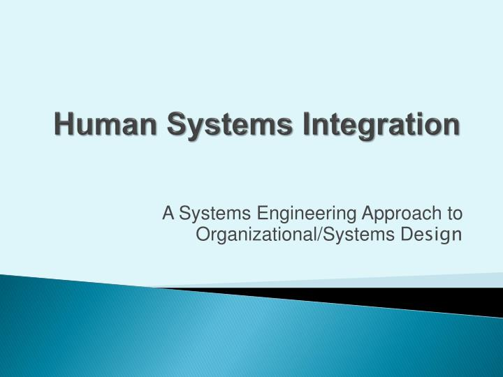 Ppt Human Systems Integration Powerpoint Presentation Free Download Id 3311930