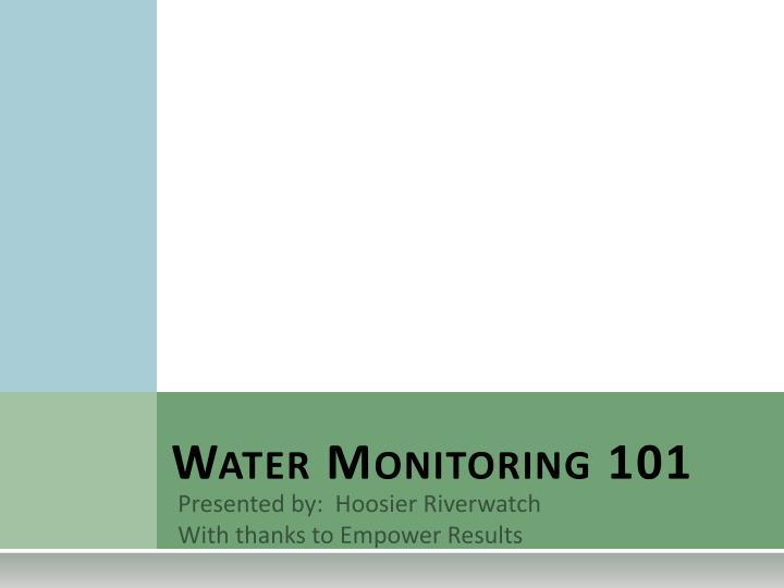 water monitoring 101 n.