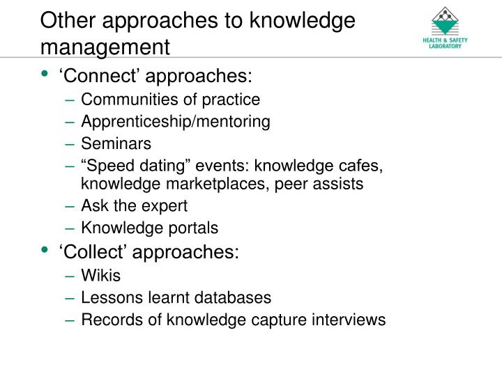 Other approaches to knowledge management