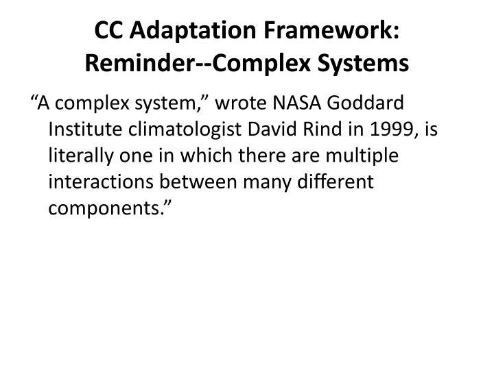 cc adaptation framework reminder complex systems n.