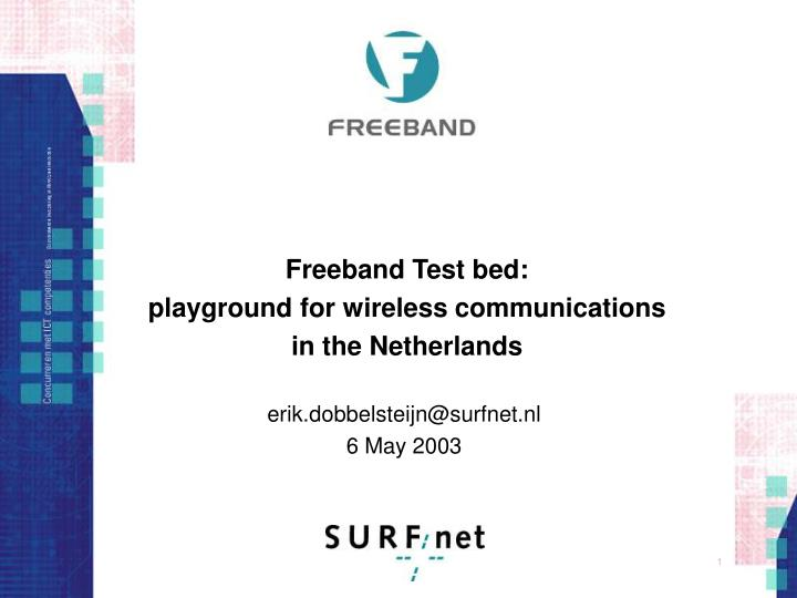 freeband test bed playground for wireless communications in the netherlands n.