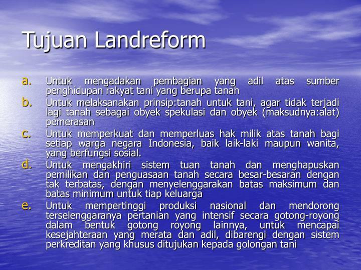 Tujuan Landreform