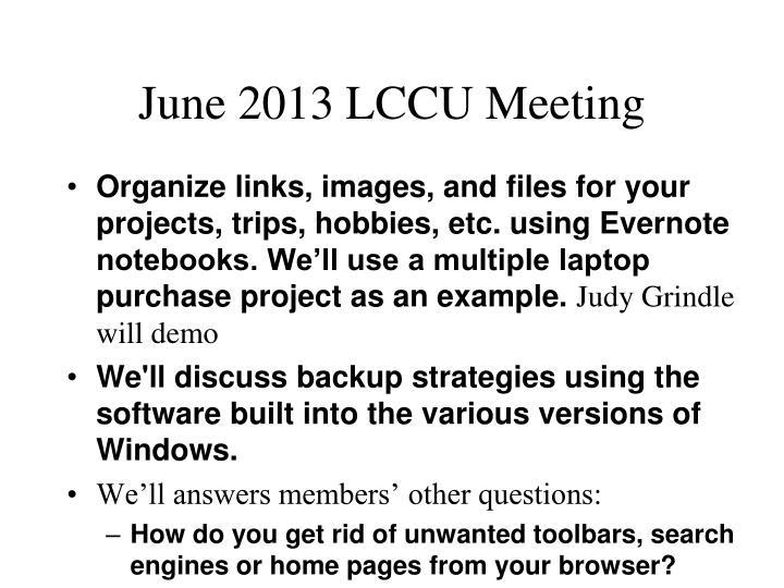 june 2013 lccu meeting n.