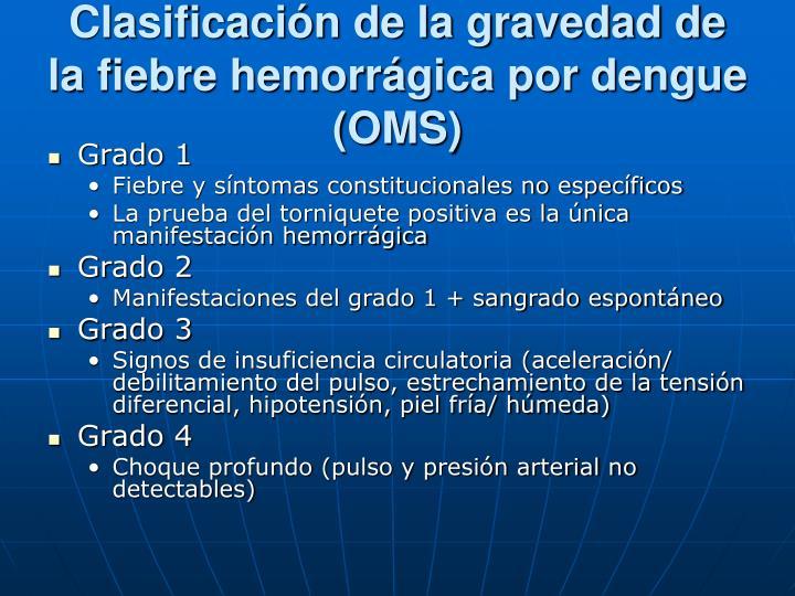 Clasificación de la gravedad de la fiebre hemorrágica por dengue (OMS)