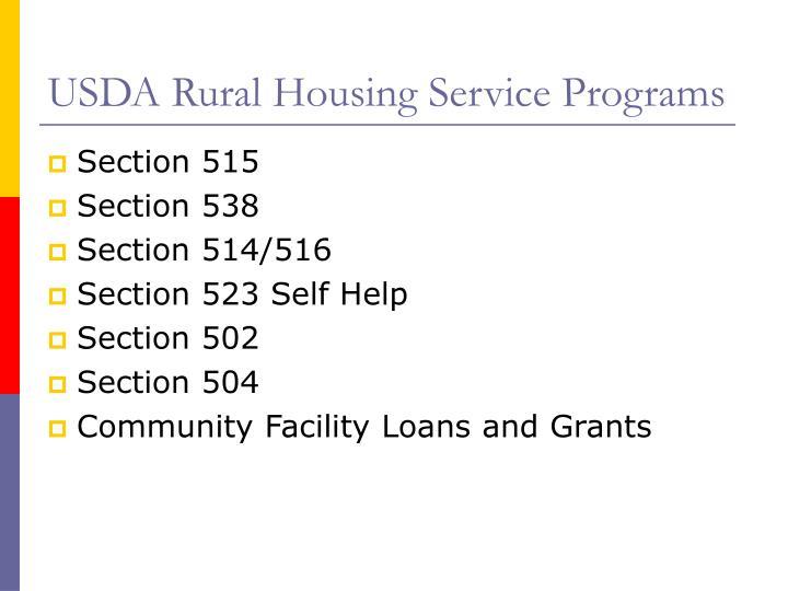 USDA Rural Housing Service Programs