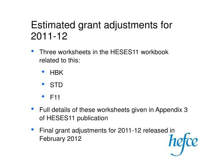 Estimated grant adjustments for 2011-12