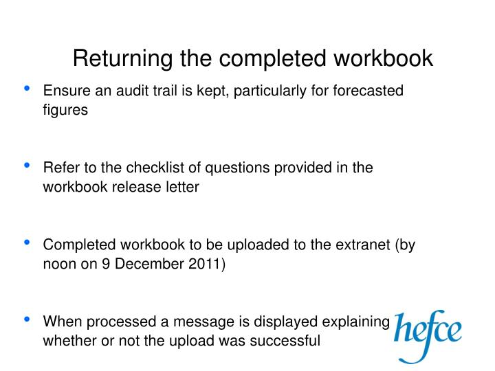 Returning the completed workbook