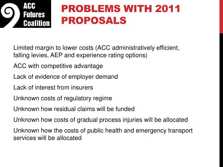 Problems with 2011 proposals