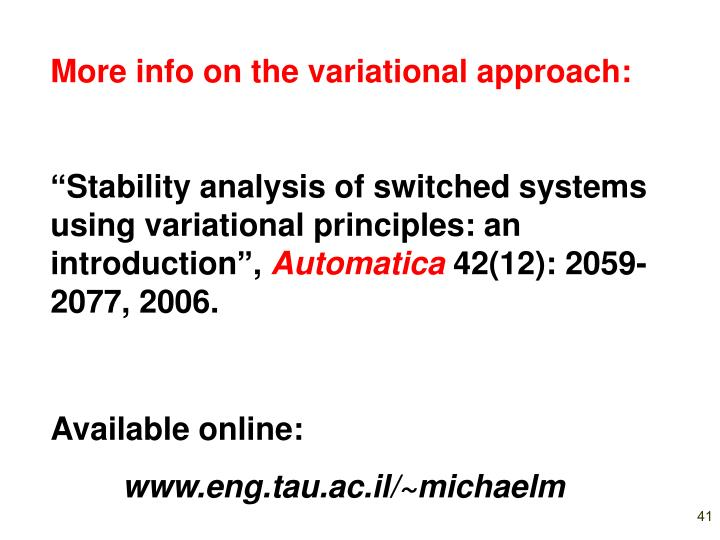 More info on the variational approach: