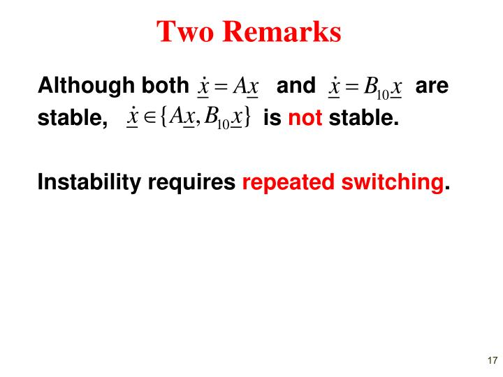 Two Remarks