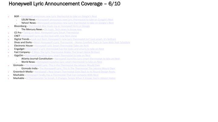 honeywell lyric announcement coverage 6 10 n.