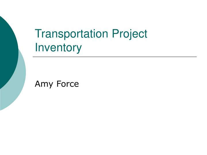 transportation project inventory n.