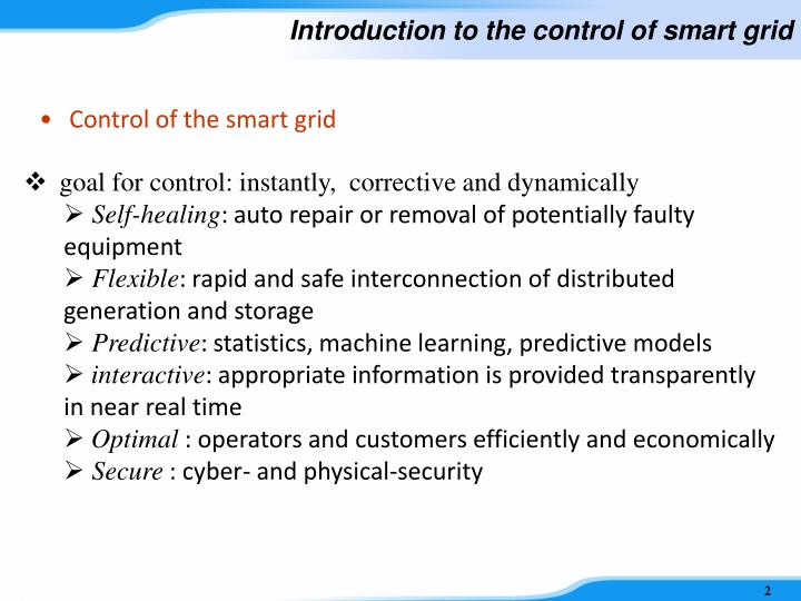 Introduction to the control of smart grid