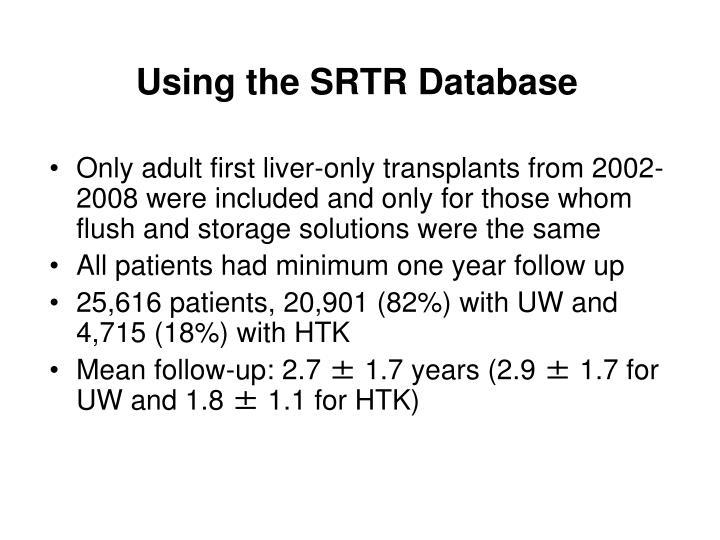 Using the SRTR Database