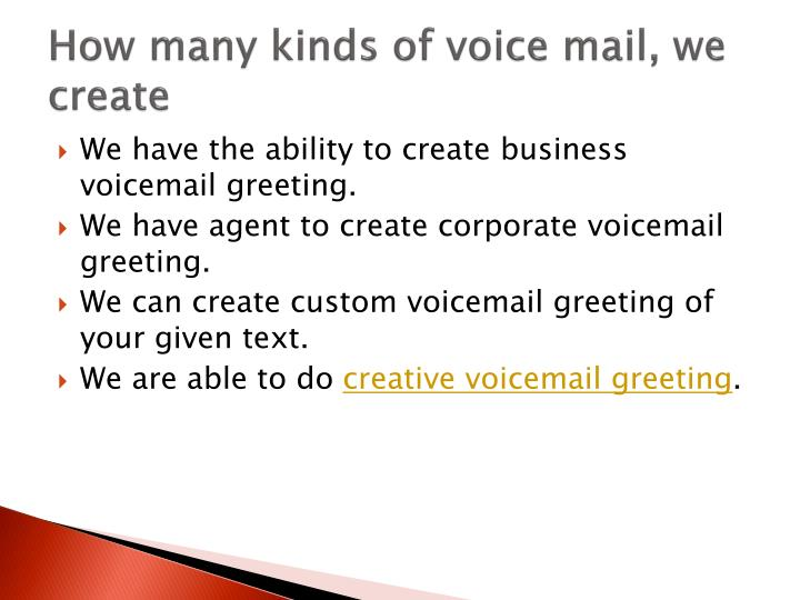 Ppt professional voicemail greeting powerpoint presentation id how many kinds of voice mail we create m4hsunfo