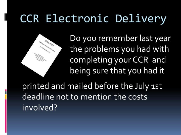 CCR Electronic Delivery