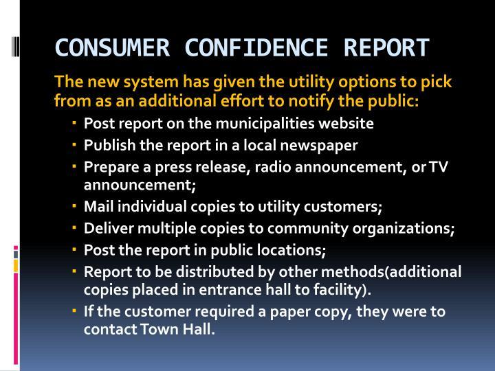 CONSUMER CONFIDENCE REPORT