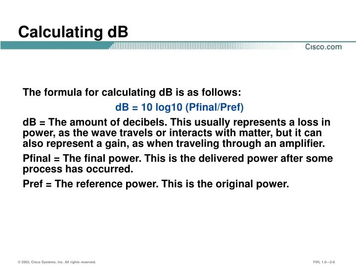 Calculating dB