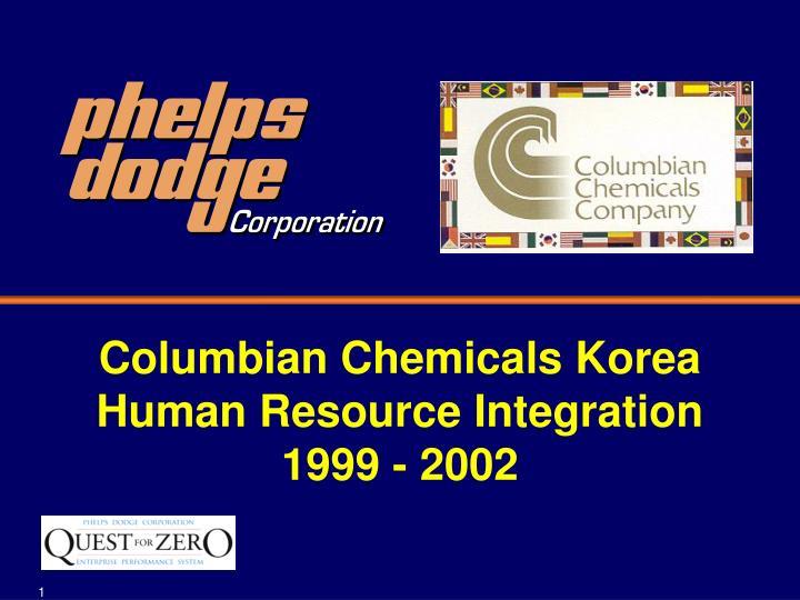 columbian chemicals korea human resource integration 1999 2002 n.