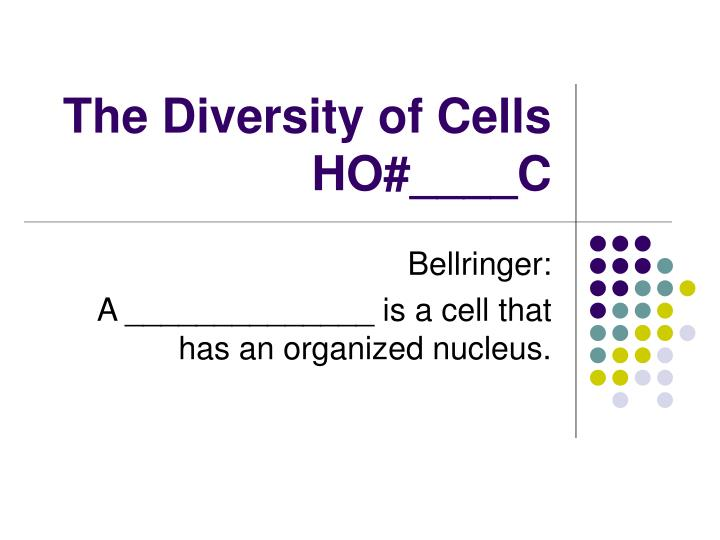 The diversity of cells ho c