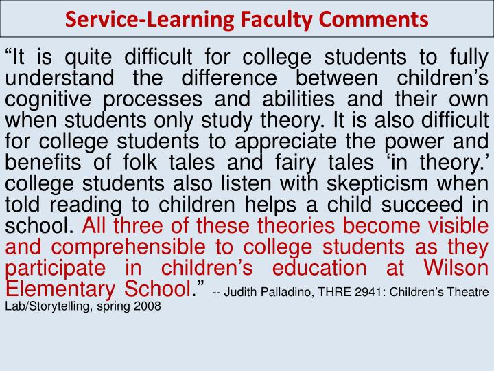 Service-Learning Faculty Comments