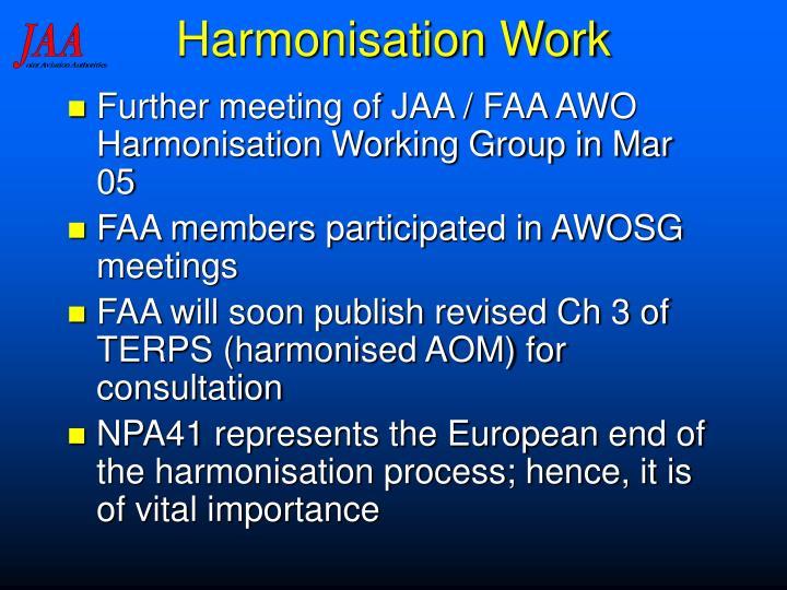 Harmonisation Work
