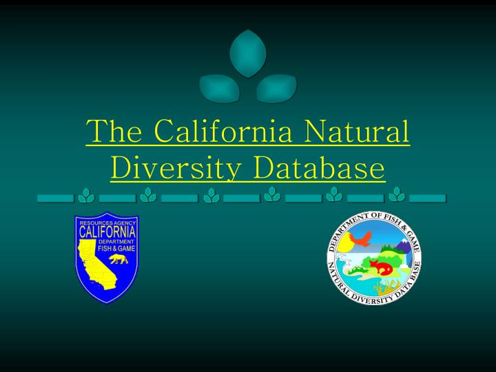 the california natural diversity database n.