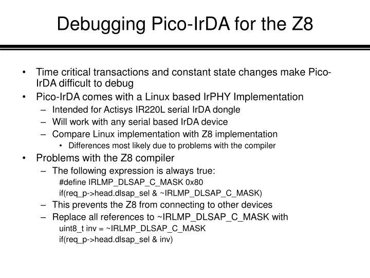 Debugging Pico-IrDA for the Z8