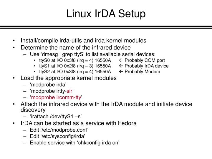 Linux IrDA Setup