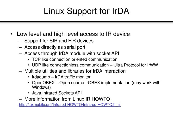 Linux Support for IrDA